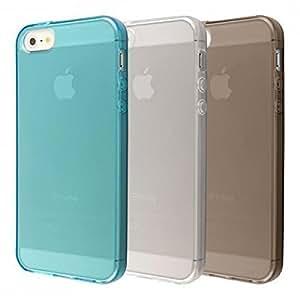Ecence ensemble de 3 x coque en silicone TPU pour iPhone 5 5S 1 noire + 1 bleu + 1 transparente 22040302