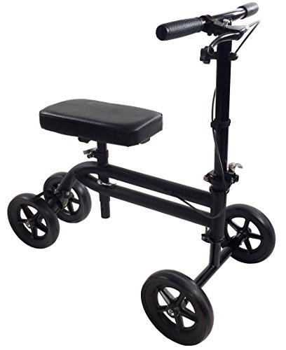 Economy Knee Scooter Steerable Knee Walker Medical Leg Scooter Crutch Alternative in Matte Black