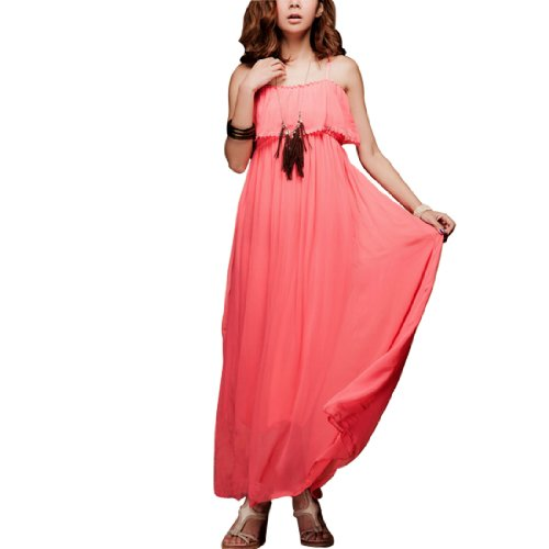 Allegra K Women Watermelon Red Elastic Waist Spaghetti Straps Chiffon Dress XS