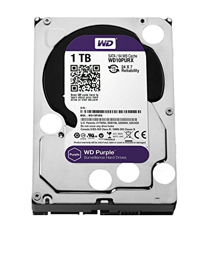 "WD WD10PURX Purple Hard Disk per Videosorveglianza, Intellipower, SATA 6 GB/s, 64 MB Cache, 3.5 "", 1 TB"