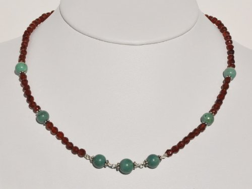 Genuine Turquoise Round Beads and Carnelian Faceted Beads Necklace in Sterling Silver, 16