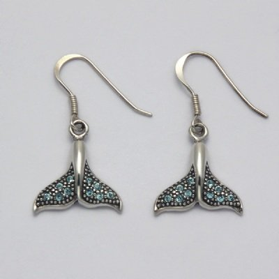 Aqua Crystal Whale Tail Earrings