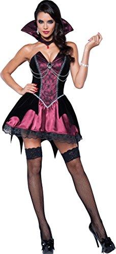 Women's Vamp Vampiress Costume, Black/Fuchsia