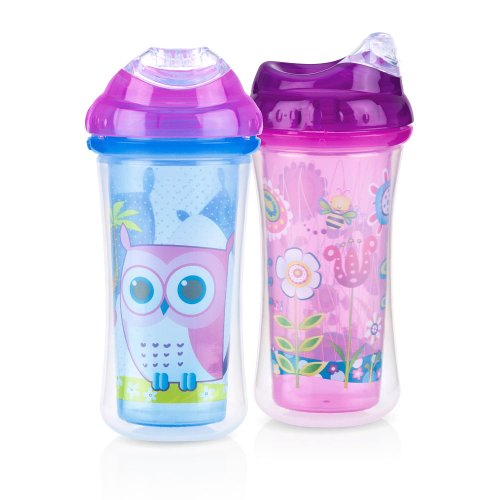 Nuby 9-Ounce Insulated Clik-It Cool Sipper 2-Pack - Owl & Meadow - 1