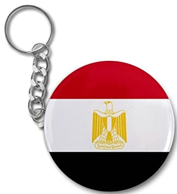 EGYPT Egyptian World Country Flag 2.25 inch Button Style Key Chain