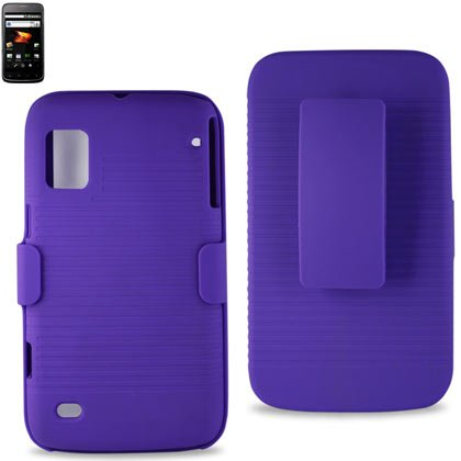 Reiko Hc-Ztewarppp Premium Durable Protective Combo Case With Holster And Clip For Zte Warp (N860)- 1 Pack - Retail Packaging - Purple