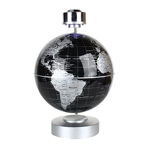 "Magnetic Levitation Floating World Map Globe, 8"" Rotating Planet Earth Globe Ball with LED Desk Display Stand -Elegance Levitation Globe Gift for Kids Home Office[Black] 2"