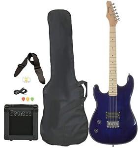 left handed beginner blue electric guitar package with amp case picks strap value. Black Bedroom Furniture Sets. Home Design Ideas