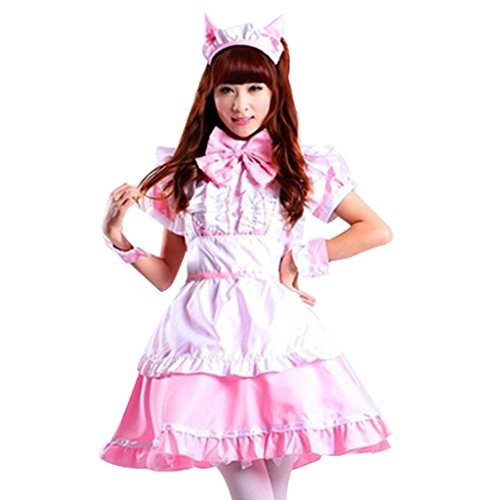 Colorful House Women's Cosplay Cat Ear French Apron Maid Fancy Dress Costume
