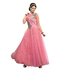 Suchi Fashion Embroidered Light Pink Net Semi Stitched Party Wear Gown