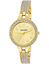 AFLOAT Analog Crystal Studded Golden Dial Stainless Steel Golden Wrist Watch For_Girls, Women