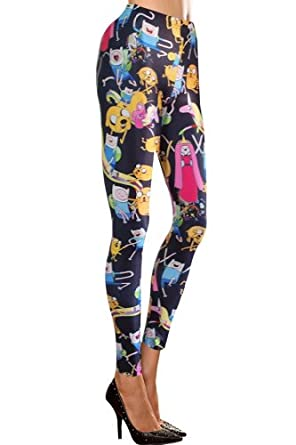 Amour- Women's Pattern Leggings Cotton Stretch Pants - Many Designs (0-adventure time)
