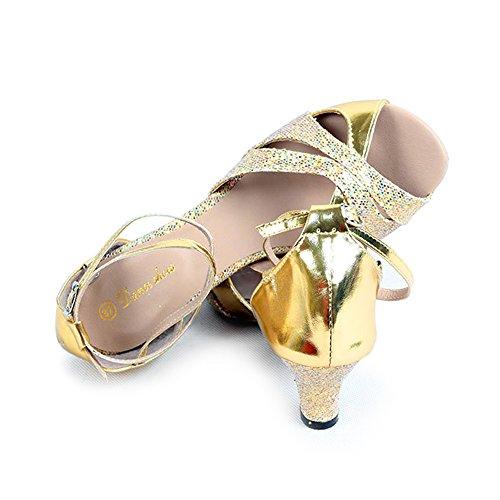 Besmall Latein Schuhe Damen Tanzschuhe Erwachsene Jazz Tango Karneval mittelhohem Absatz Tanzschuhe (38-41,Golden)