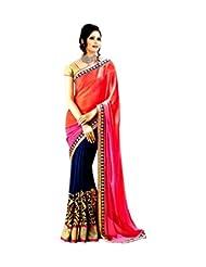 Top & Best Ladies Party Wear Orange/pink Dark Blue Saree For Women & Girls