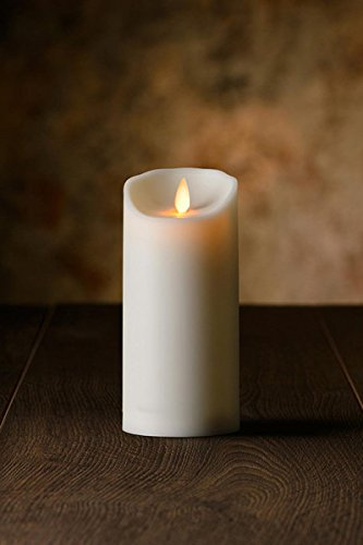 Veraflame 6″H Oblique Edge LED Moving Wick Candle, Ivory
