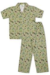 GreenApple Boys Organic Cotton Forest Pattern Pyjama Set (FVGA088, Green, 5-6 Years)