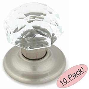 Amerock e5247 2 csg clear crystal with satin nickel base for 1 3 4 door knob