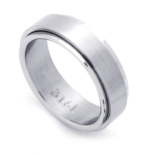 7MM Stainless Steel Spinner Flat Wedding Band Ring (Size 7 to 14) Size 12