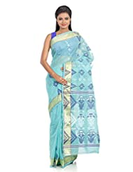 B3Fashion Traditional Bengal Handloom Sea Green Tangail Cotton Saree With Beautiful Navy Blue & White Floral Weaves...