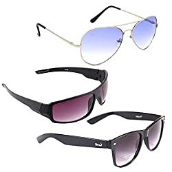 Elligator Stylish Aviator Silver Blue And Purple Nightvision With Black Wayfarer Sunglasses Combo ( Set of 3 )