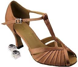 Very Fine Women\'s Salsa Ballroom Tango Latin Dance Shoes Style 2707 Bundle with Plastic Dance Shoe Heel Protectors, Brown Satin 8.5 M US Heel 2.5 Inch