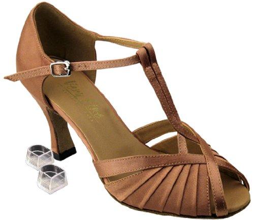 Very Fine Women's Salsa Ballroom Tango Latin Dance Shoes Style 2707 Bundle with Plastic Dance Shoe Heel Protectors, Brown Satin 6.5 M US Heel 2.5 Inch (Go Go Dance Shoes compare prices)