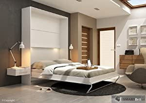smartbett schrankbett vertikal 160x200cm murphy bed mit. Black Bedroom Furniture Sets. Home Design Ideas