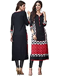 EthnicCrush Women's Cotton Printed Kurti(ECHTBinto1524,Black)