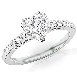 1.12 Carat Heart Cut / Shape 14K White Gold Classic Graduating Pave Set Diamond Engagement Ring ( E-F Color , SI2 Clarity )