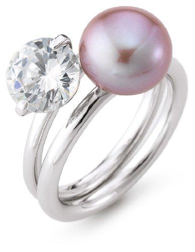 Adriana Damen-Ring Romantica Süßwasser Zuchtperle Zirkonia 2er Set 925 Sterling-Silber Gr. 52 R19-52