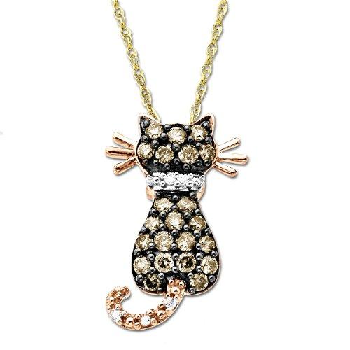 14k Rose Gold Brown Diamond Cat Pendant (1/3 cttw), 18