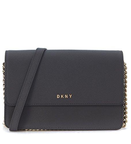 Borsa a tracolla small DKNY in pelle grigia