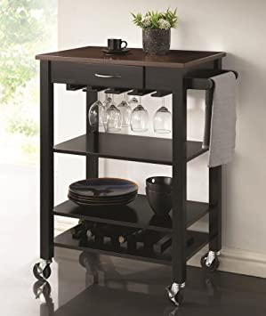 Simple Chefs Helper black finish wood with cherry finish wood top kitchen island cart with casters
