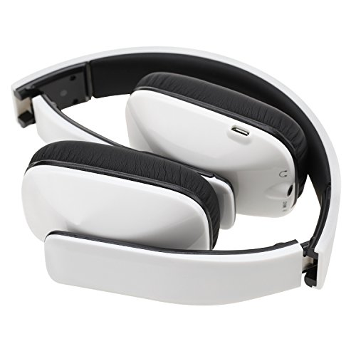 BassOne Wireless Bluetooth 4.0 Headphone Stereo Headset Flexible with Mic Answer Calling Handfree Music Stream (white)