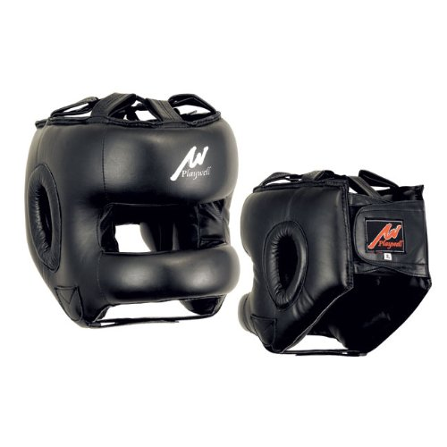 Proffessional Full Face Leather Boxing Head Guard - S/M
