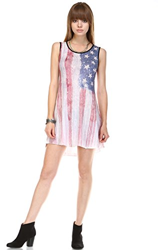 Zoozie LA Women's American Flag Dress Mini Tunics and Tank Dresses