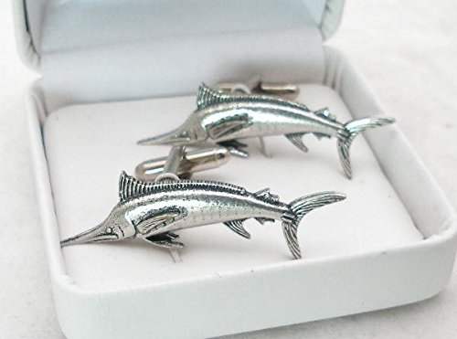 Solid Pewter Marlin Cufflinks With Gift Box