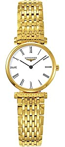Longines La Grande Classique Women's Quartz Watch with White Dial Analogue Display and Stainless Steel Gold Plated Bracelet L42092118