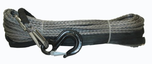 "Best Deals! Grey 92' X 1/2"" Synthetic Dyneema Winch Rope Cable with Black Hook & Rock Guard"