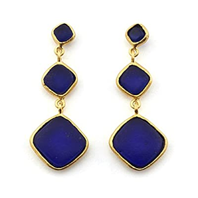 Cobalt Glass Drop Earrings by Michael Vincent Michaud