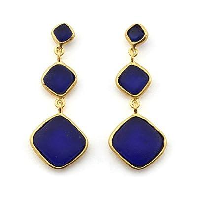 Cobalt Glass Drop Earrings by Michael Vincent Michaud
