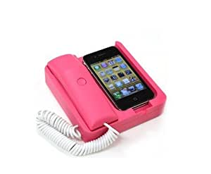 WSWS -Phone Handset (Pink) and Sync Stand for iPhone 4S, 4G, 3GS, 3G, and Other Wireless Phones