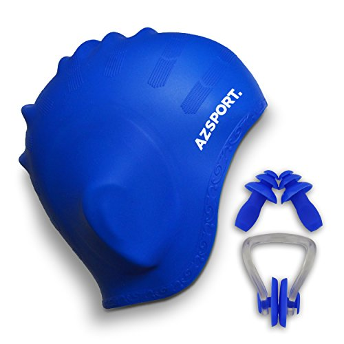 AZSPORT Swim Cap, Nose Clips and Ear Plugs Included, Blue (Swim Long Hair Nose Clip compare prices)