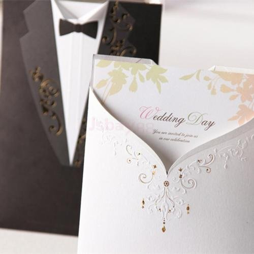 DatConShop(TM) 10 Set Paper Bride Groom Wedding Invitations Tuxedo Cards Seals Envelopes