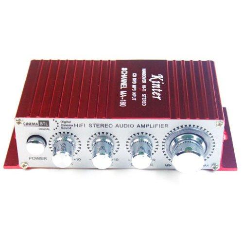 Kinter MA180  - Amplificatore 2 Canali 12V DC Audio Stereo per Auto Moto Barca