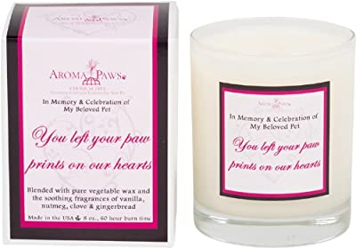 Aroma Paws Memorial Candle, 8-Ounce, Burgundy Heart