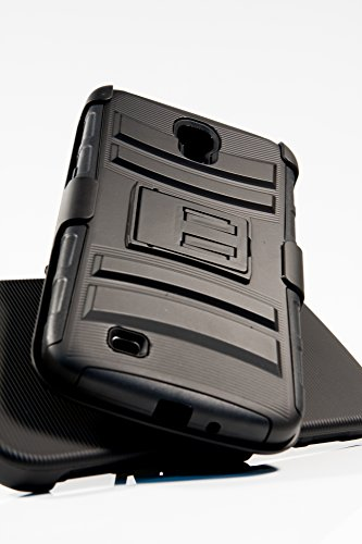 Shockwize (Tm) Stealth Series Samsung Galaxy Mega 6.3 Black Shell Holster Armor Protector Cover Case Tri-Layer Shock Absorbing Rigid Hybrid Dual Kickstand With Locking Swivel Belt Clip Gt-I9200 I9200 I9205 (Black)