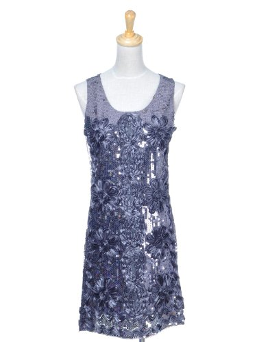 Anna-Kaci S/M Fit Grey Large Squiggle Flowers and Sparkle Sequin Decorated Dress