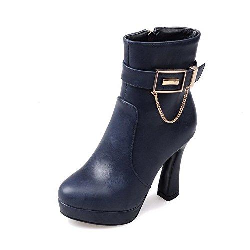 VogueZone009 Donna Luccichio Cerniera Punta Tonda Tacco Alto Stivali con Fibbie In Metallo, Azzurro, 34