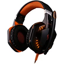 KOTION EACH G2000 Over-ear Gaming Headphone Headset With Mic Stereo Bass LED Light For PC Game Blue Black-orange